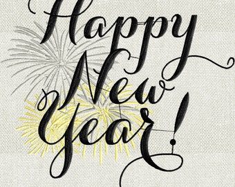 Happy New Year - Fireworks - EMBROIDERY DESIGN FILE- Instant download - Exp Jef Vp3 Pes Dst formats 5x7 hoops or larger only