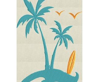 Palm Trees Surfboard Seagulls EMBROIDERY DESIGN FILE - Instant download - Summer Beach Island Design element - Dst Hus Jef Pes Exp Vp3