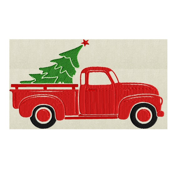 Christmas Tree Shop Connecticut: Retro Pickup Truck With Christmas Tree EMBROIDERY DESIGN