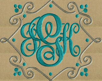 squiggle Scroll Font Frame Monogram Design -Font not included - EMBROIDERY DESIGN FILE - Instant download - Hus Dst Exp Jef Pes formats