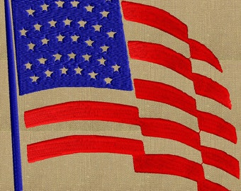 USA American Flag Patriotic - Memorial Day - 4th of July Welcome home - Embroidery DESIGN FILE - Instant download Dst Hus Pes Exp Vp3