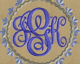 Hollys Round Font Frame Monogram Embroidery Design - Font not included - in 2 sizes - Instant download - Hus Dst Exp Vp3 Jef Pes formats