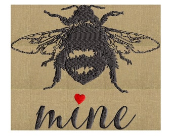 Bee Mine Valentines Day themed w Bumble bee - EMBROIDERY DESIGN FILE- Instant download - Exp Jef Vp3 Pes Dst format - 5x7 frames and larger