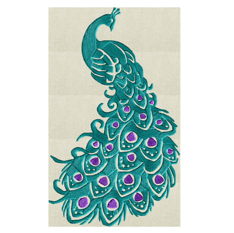 Peacock Bird of paradise  EMBROIDERY DESIGN file  Instant image 0