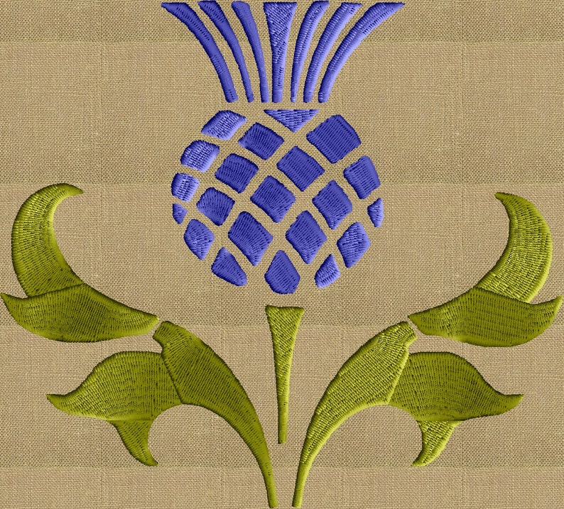 Thistle Scroll Design - EMBROIDERY DESIGN FILE - Instant download - 2 sizes  - Exp Vp3 Dst Hus Jef Pes formats