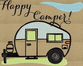 Happy Camper Trailer Embroidery Design - EMBROIDERY DESIGN FILE - Instant download - Vp3 Dst Exp Jef Pes formats - for large frames only