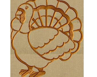 "Turkey Thanksgiving EMBROIDERY DESIGN FILE - Instant download - 4"" frames - Exp Xp3 Dst Hus Jef Pes formats"