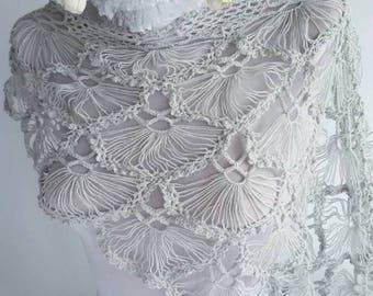 Crochet lace Shawl Wedding shawl bridal shawl Queen gift Neckwarmer knit gray scarf Women accessories Christmas gift worldwide shipping