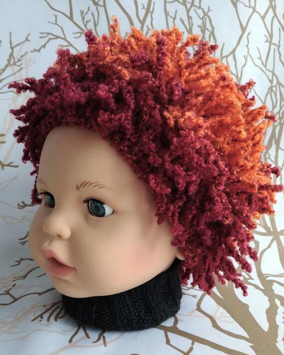 Hair hat Baby pageant hair hat Happy Fun Hat Orange crochet  27844e12b19