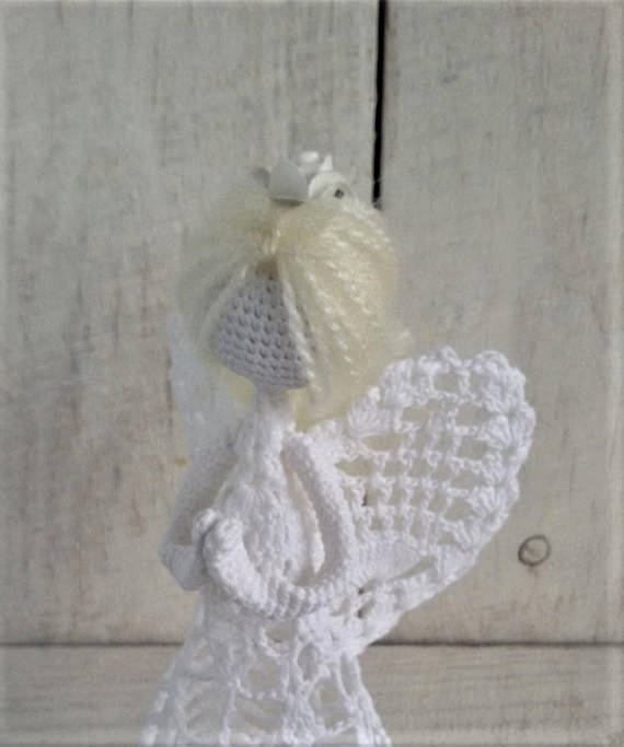 Crochet Angel Baptism Gift Christmas Lace Angel Ornament Tree: Crochet Angel Pattern PDF DIY Craft Christmas Angel Tutorial