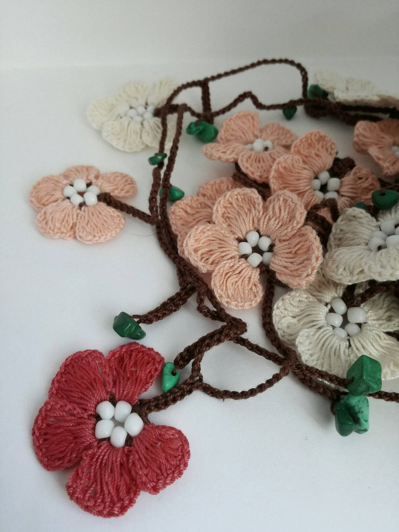 Flower lariat necklace  beaded lariat garland scarf crochet flower headband  stone necklace Mother day gift