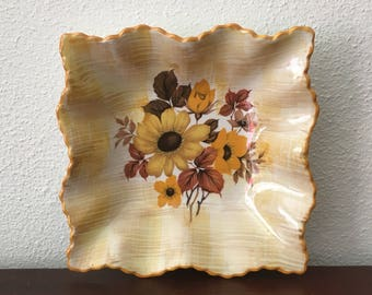 Vintage Fluted Dish / Old Foley James Kent / White Yellow Brown Floral / 1950s