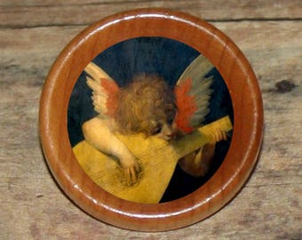 Fairy CHERUB angel plays MANDOLIN Pendant or Brooch or Ring or Earrings or Tie Tack or Cuff Links