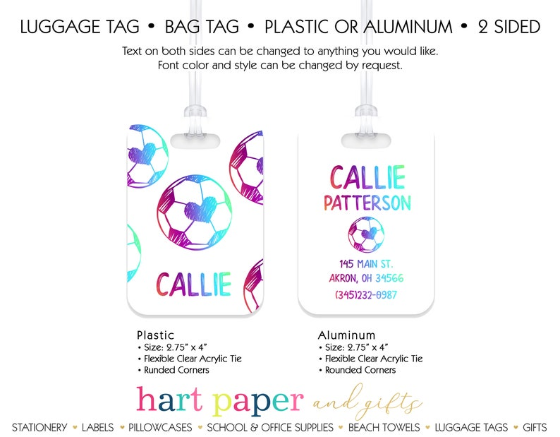 Soccer Ball Rainbow Heart Personalized Luggage Bag Tag \u2022 Plastic Aluminum Custom Travel Birthday Girl Gift Back to School Supplies Backpack