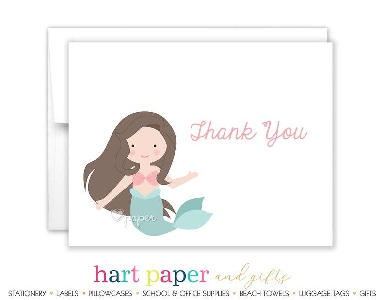 Mermaid Thank You Personalized Cards \u2022 Folded Flat Card Stationery Custom Printed Notecard \u2022 Birthday Party Baby Shower  Boy Girl Kids
