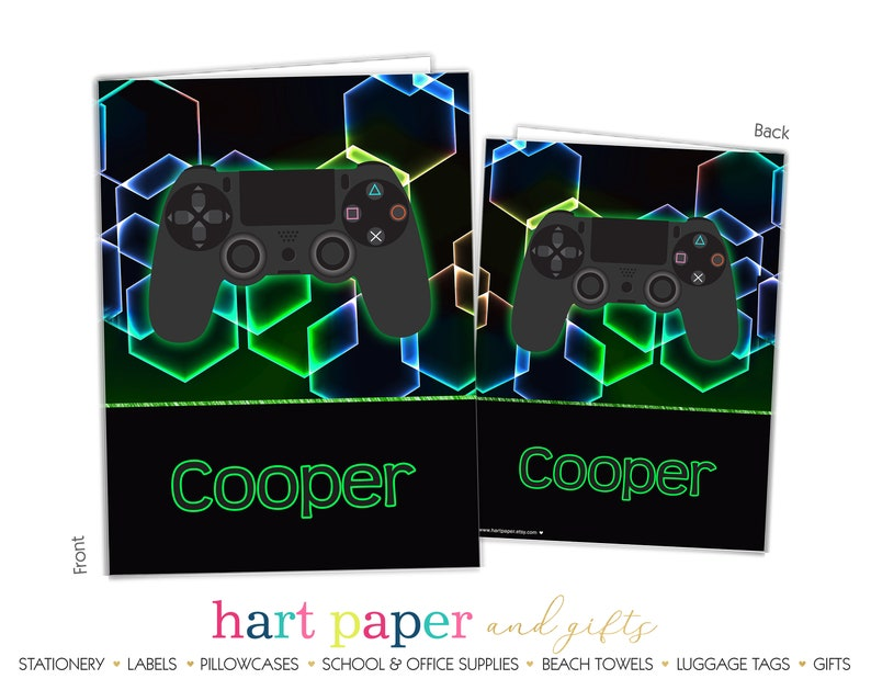 Video Game Gamer Personalized Folder 2 Pocket • Back to School Supplies  Name Custom Office Birthday Gift Girl Boy Kids