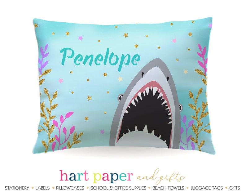 Personalized Shark Pillowcase \u2022 Custom Pillow Case Cover Standard 20x30 \u2022 Birthday Gift Kids Children Girl Boy
