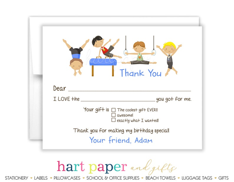 Gymnastics Gym Fill In the Blank Thank You Cards • Flat Stationery  Personalized Custom Printed Notecard • Birthday Party Boy Kids
