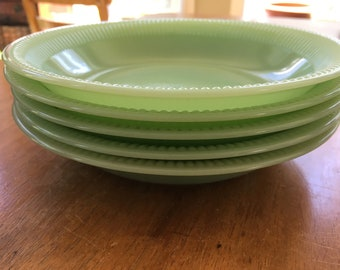 Set of 5 Vintage Fire King Jane Ray Jadeite Soup Bowl 7.5 inches