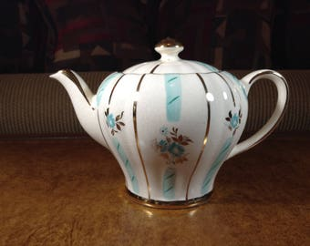 Sudlow Burslem Continental Style Teapot RITA Made in England Turquoise and Gold Flowers