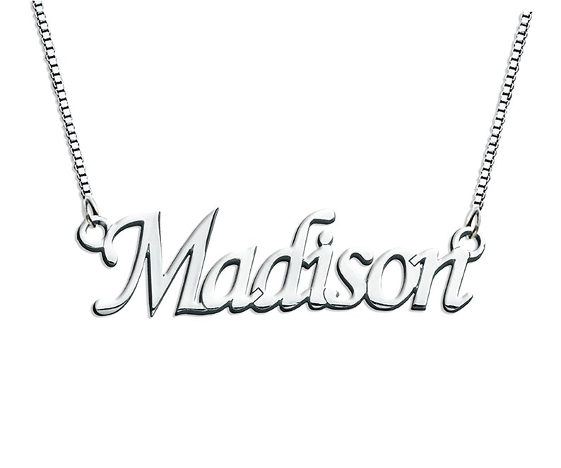 Personalized Name Necklace, Name Necklace, Cursive Font Necklace, Custom  Name Jewelry, Nameplate Silver, Name Chain