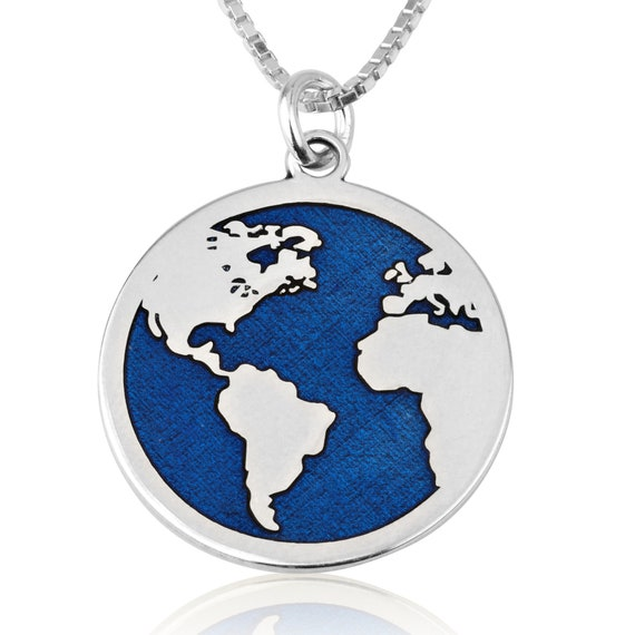 Mini Globe Earth Aircraft Plane Pendant Traveling The World Necklace oyw