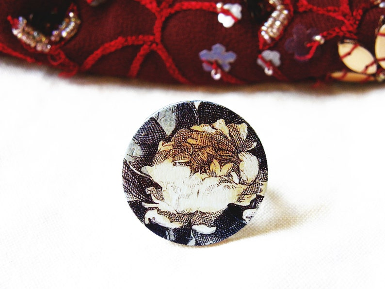 paper jewelry handmade eco jewelry vintage paper flowers ring paper gift idea vintage style nature Paper ring