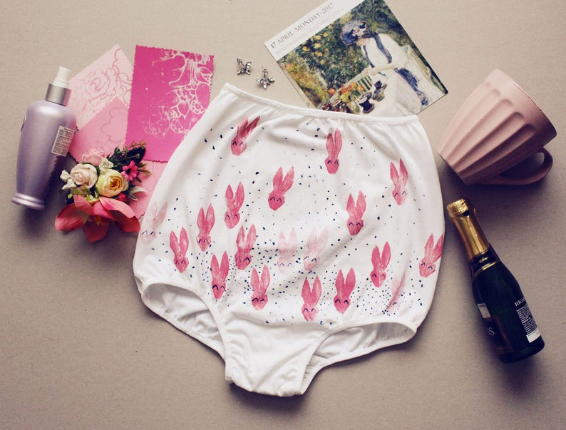 Bunny pink   lingerie Organic cotton hand printed panties high cut panties lingerie organic   Made to order