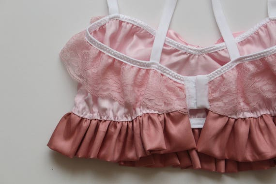 lingerie set sweetheart pink pie frilly Made Pastel to satin cotton roleplay Apple order ddlg lingerie sexy TY07qx