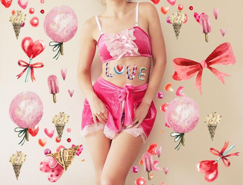 7b5d49138a984f CUPCAKE   Hot pink velvet lingerie set bralette and panties