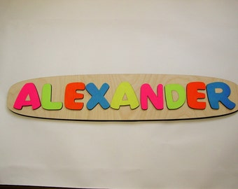 Wooden Name Puzzle ~ Personalized Wooden Puzzle ~ Childrens Puzzles ~ Customized Name Puzzle ~ Custom Made Educational Toy ~ Raised Letters
