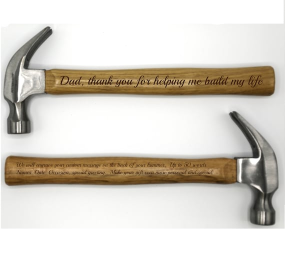 personalized hammer up to 50 word personal message on back etsy