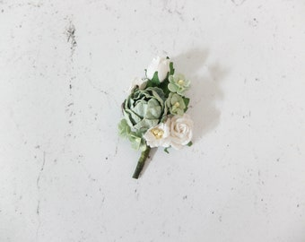 White boutonniere etsy sage green white flower boutonniere button hole wedding accessories prom corsage mightylinksfo
