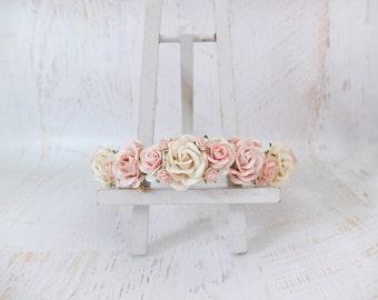 Ivory blush wedding flower crown, floral headpiece, flower halo, bridesmaids flower girl hair wreath, headdress