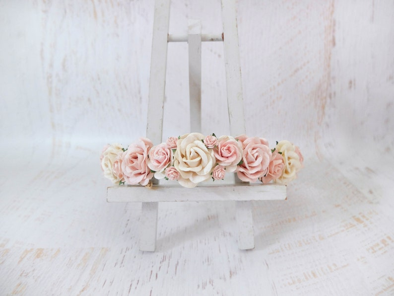 Ivory blush wedding flower crown floral headpiece flower image 0