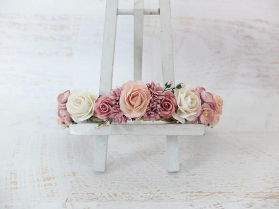 Mauve blush off white wedding flower crown blush bridal etsy image 0 mightylinksfo