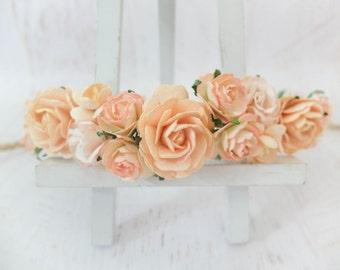 Peach flower crown - rose headpiece - headband - floral hair wreath - wedding hair accessories - garland