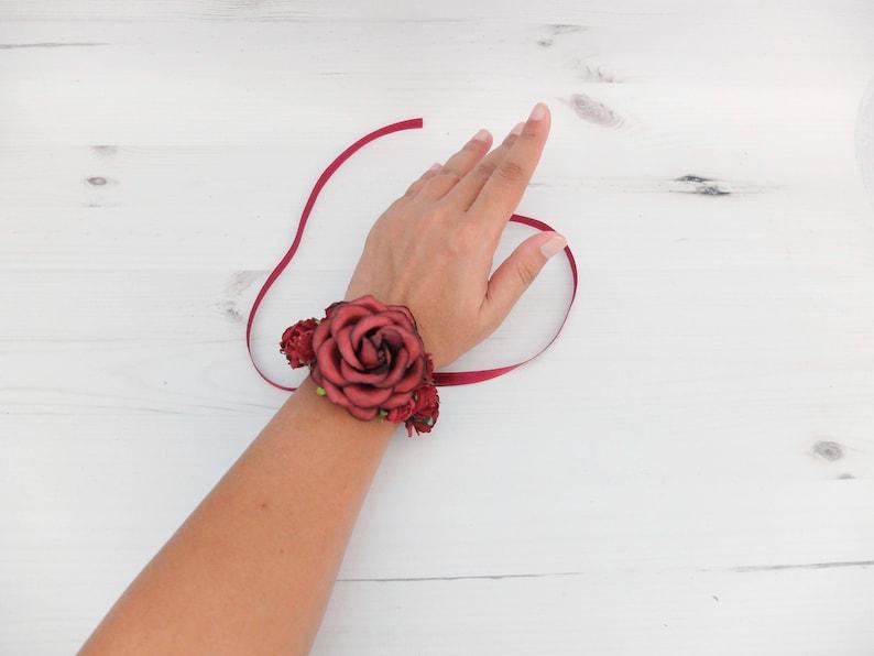bridal accessories flower girls bridesmaids flower bracelet mother of the groom bride prom Dark red wedding flower wrist corsage
