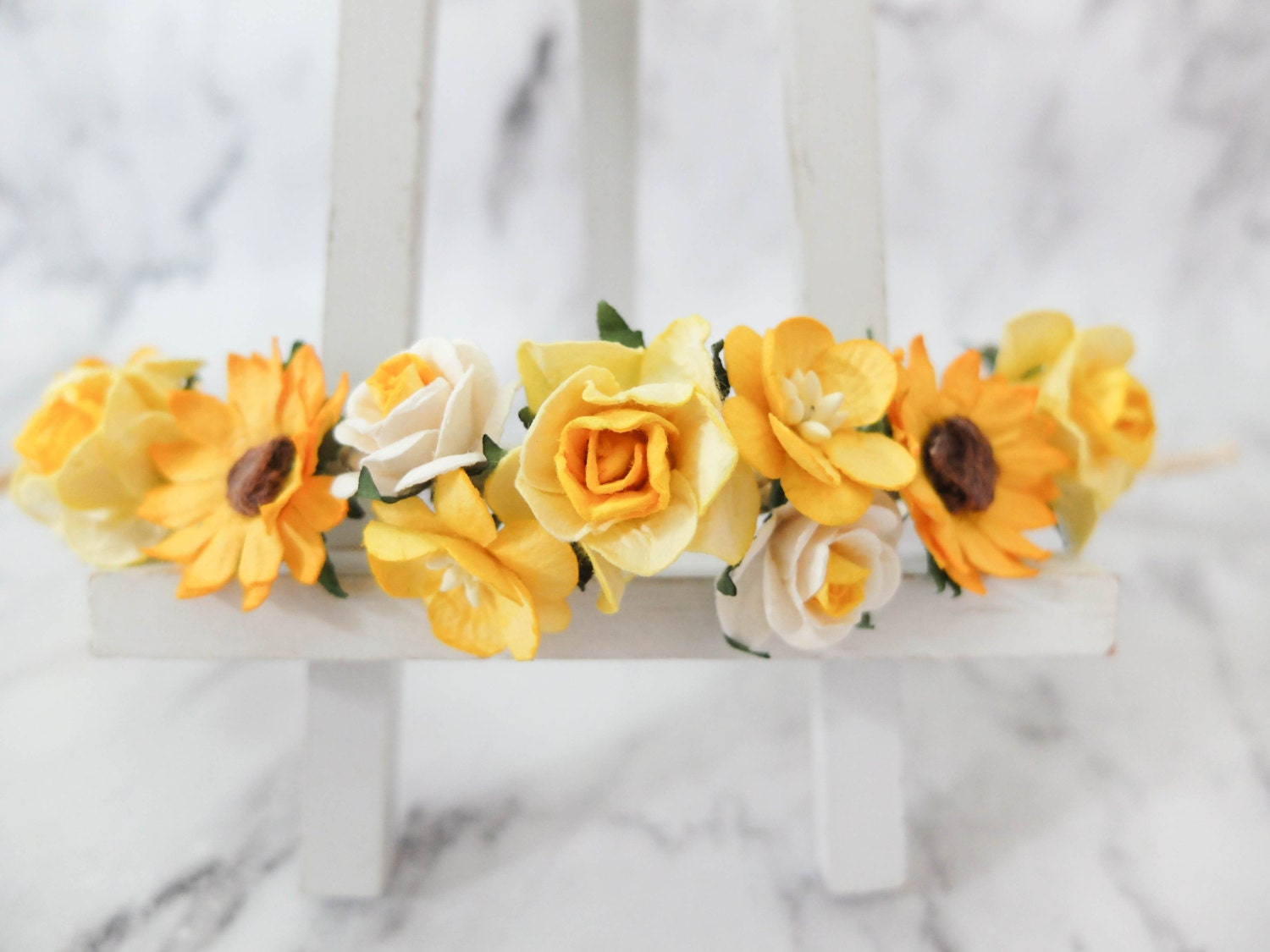 Sunflower And Yellow Flowers Crown Wedding Head Wreath