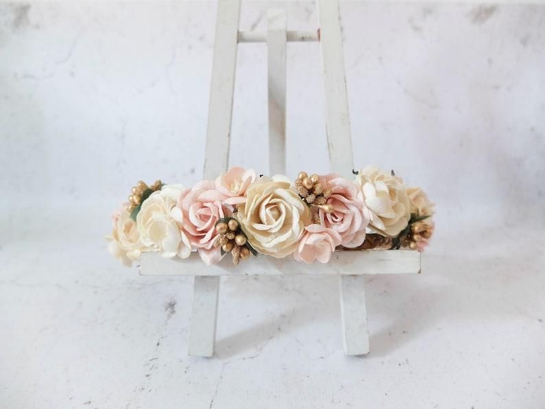 Wedding flower crown ivory blush gold floral hair wreath/ image 0