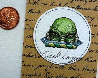 Creature from the Black Lagoon Original Art Illustration Drawlloween Miniature