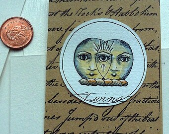 Psychic Twins Original Art Illustration Drawlloween Miniature
