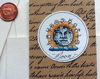 Moon Original Art Illustration Drawlloween Miniature Astrology