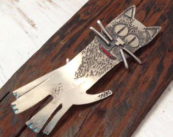 Handmade Sterling Silver Cat Brooch Pin TOM,Hand Painted, Silver Cat, Contemporary Silver Brooch, Wearable art, Easter Gift