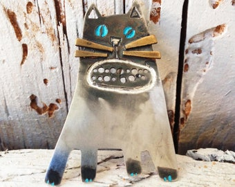Handmade Sterling Silver Cat Brooch Pin, SHERLOCK HOLES, Hand Painted, Silver Cat, Wearable art, Contemporary Jewelry, Easter Gift