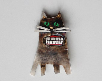 Handmade Sterling Silver Cat Brooch Pin, ESMERALDA, Patinated, Hand Painted, Hand Engraved, Silver Cat, Wearable art, Contemporary Jewelry