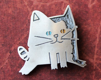Handmade Sterling Silver Cat Brooch Pin, MAY, Patinated, Hand Painted, Hand Engraved, Silver Cat, Contemporary Silver, Wearable art