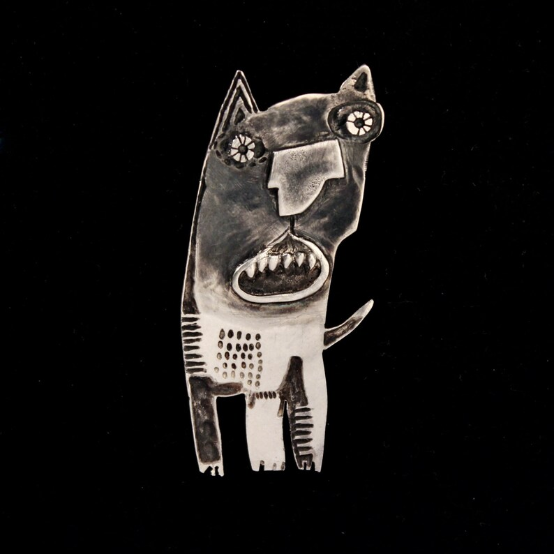 SIMON Silver Dog Wearable Art Handmade Sterling Silver Dog Brooch Pin Contemporary Jewelry Easter Gift Adjustable Patinated
