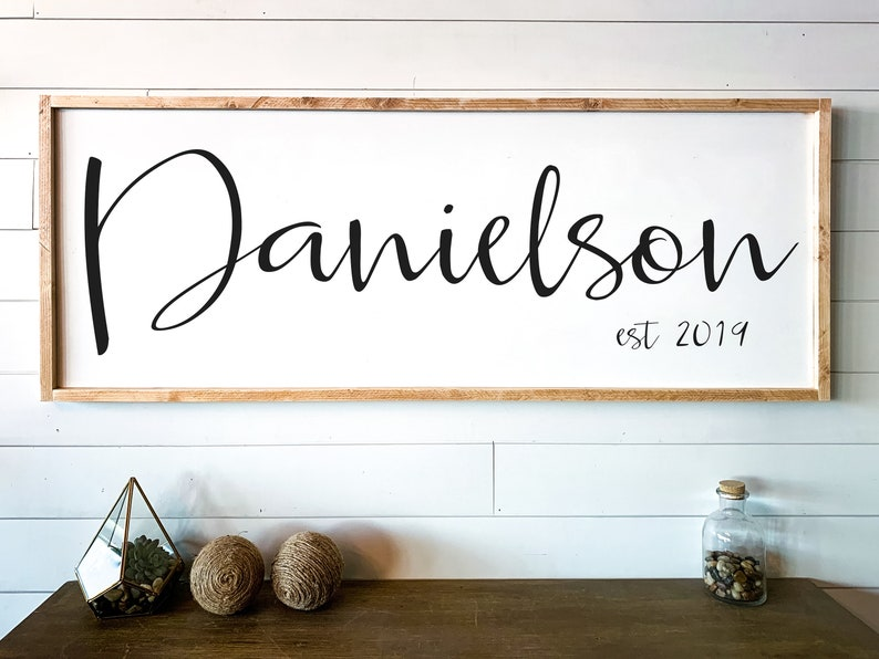 05ff3554acd34 Large Last Name Sign Large Living Room Family Name Wood Sign Custom Wedding  Gift Wedding Establish Sign Family Established Sign