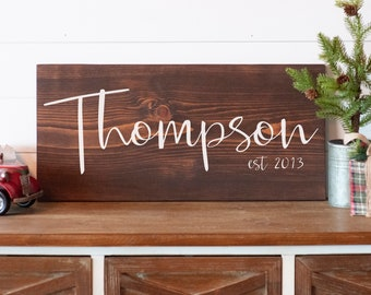 Last Name Sign, Personalized Wedding Gift, Modern Farmhouse Wood Sign, Custom Anniversary Gift for Mom, Personalized Wedding Gift,